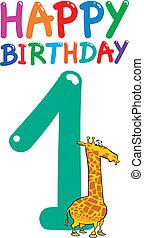 aniversário, desenho, aniversário, primeiro