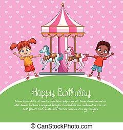 aniversário, desenhos animados, cartão, feliz