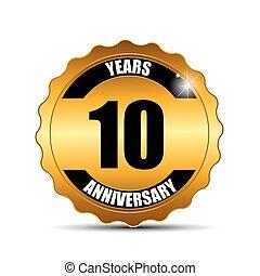 aniversário, dourar, etiqueta, sinal, modelo, vetorial, ilustração