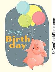 aniversário, e, convite, cartão, animal, fundo, com, porca