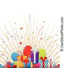 aniversário, elementos, celebração