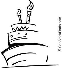 aniversário, esboço, cor, velas, ilustração, desenho, glowing, vetorial, three-layered, bolo, ou, celebração