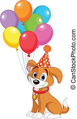 aniversário, filhote cachorro