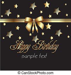 aniversário, fita, cartão ouro, feliz
