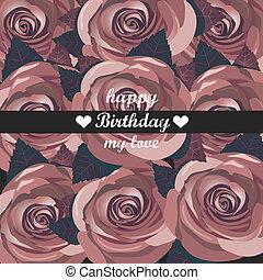 aniversário, flowers., vetorial, cartão, vermelho, feliz