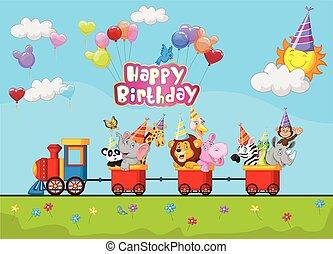 aniversário, fundo, animal