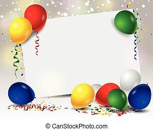 aniversário, fundo, balões