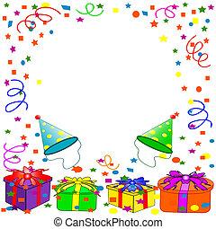 aniversário, fundo, feliz