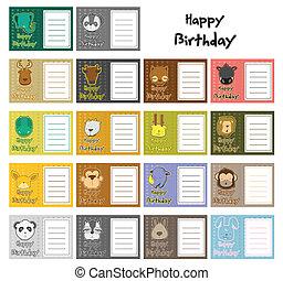 aniversário, jogo,  animal, cartão