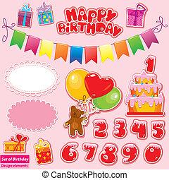aniversário, jogo, elementos, partido