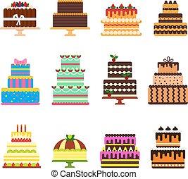 aniversário, jogo, nascimento, bolo queijo, isolado,...