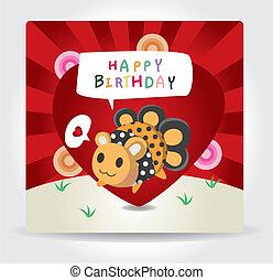 aniversário, monstro, cartão
