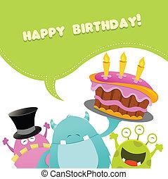 aniversário, monstros, cartão