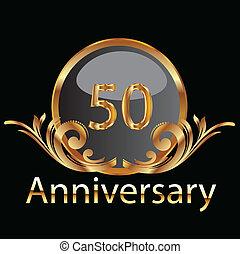 aniversário, ouro, 50th