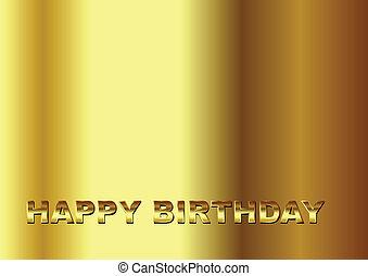aniversário, ouro, feliz