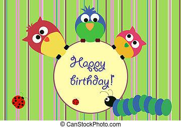 aniversário, pássaros, cartão