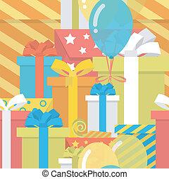 aniversário, padrão, com, presentes