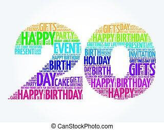 aniversário, palavra, 20o, nuvem, feliz
