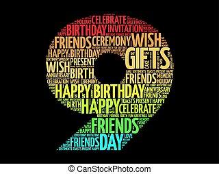 aniversário, palavra, 9º, nuvem, feliz