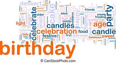 aniversário, palavra, nuvem