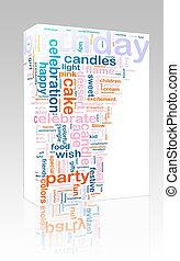 aniversário, palavra, nuvem, caixa, pacote