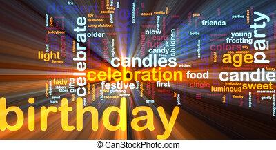 aniversário, palavra, nuvem, glowing