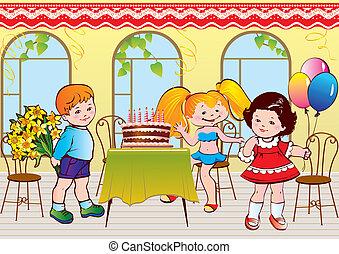 aniversário, partido., feliz