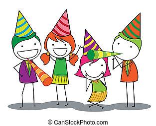 aniversário, pessoas, partido