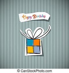aniversário, retro, cartão, feliz