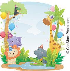 aniversário, safari, animal, fundo