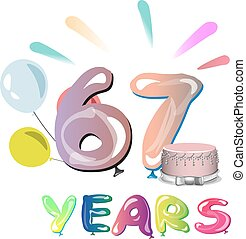 aniversário, saudação, 67, anos, cartão, celebração