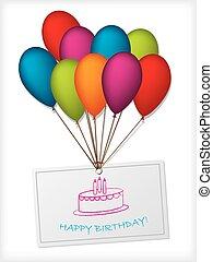 aniversário, saudação, desenho, com, balões