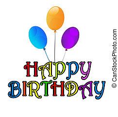 aniversário, saudações, cartão, feliz