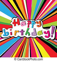aniversário, sunburst, colorido, cartão, feliz