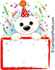 aniversário, táxi, urso polar