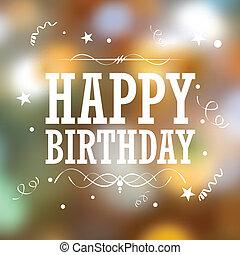 aniversário, tipografia, fundo, feliz