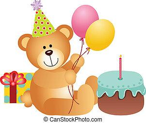 aniversário, urso, pelúcia