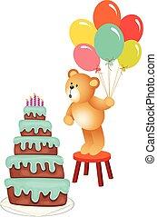 aniversário, urso teddy