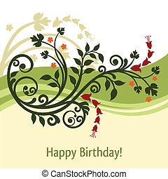 aniversário, verde, cartão amarelo