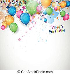 aniversário, vetorial, cartão cumprimento, feliz