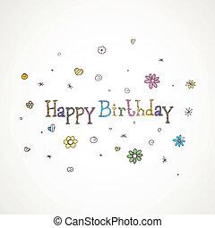 aniversário, vetorial, cartão cumprimento