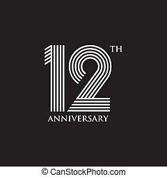 aniversario, año, logotipo, emblema, 12, diseño, vector,...