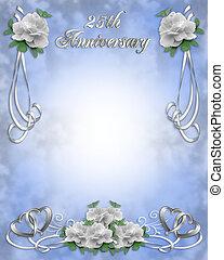 aniversario de la boda, invitación, 25, y