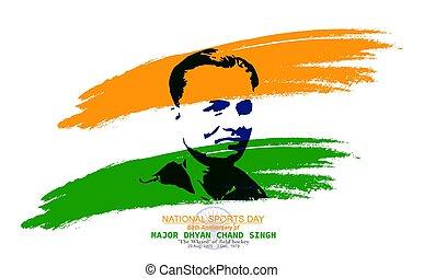 aniversario, dhyan, ilustración, celebrado, día de deportes...
