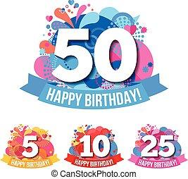 aniversario, emblemas, con, feliz cumpleaños, felicitaciones