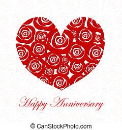 aniversario feliz, día, corazón, con, rosas rojas