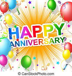aniversario feliz, medios, saludo, felicitar, y, fiesta
