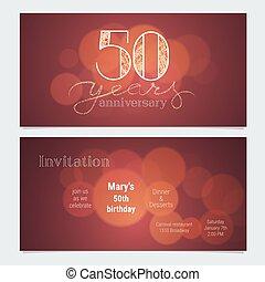 aniversario, ilustración, años, vector, invitación, celebración, 50