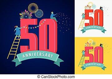 aniversario, -, plano de fondo, con, gente, celebrar, iconos, y, números