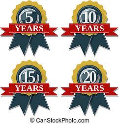 aniversario, sello, 5, 10, 15, 20 años